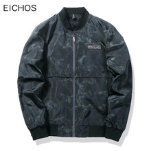 EICHOS Mens Coats Fashion Camouflage Bomber Jacket Men Print Slim Windbreaker Jackets Casual Mandarin Collar Coat JK083105