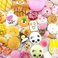 30 Pcs Squishy Slow Rising Cute Bread Cake Bun Pendant Donut Charm Toy Stretchy Squeeze Cream