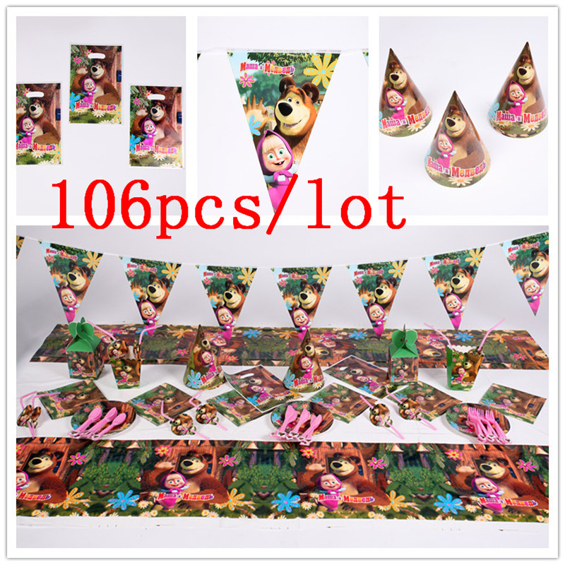 106Pcs/Lot Masha And Bear Theme Baby Shower Boys Birthday Decoration Wedding Event Party Supplies Various Tableware SetsDisposable Party Tableware   -