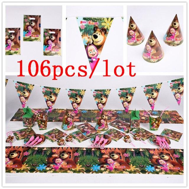 Conjunto de vajilla con tema de Masha y oso para Celebración de bebé, Decoración de cumpleaños para niños, suministros para fiesta y evento de boda, 106 unidades