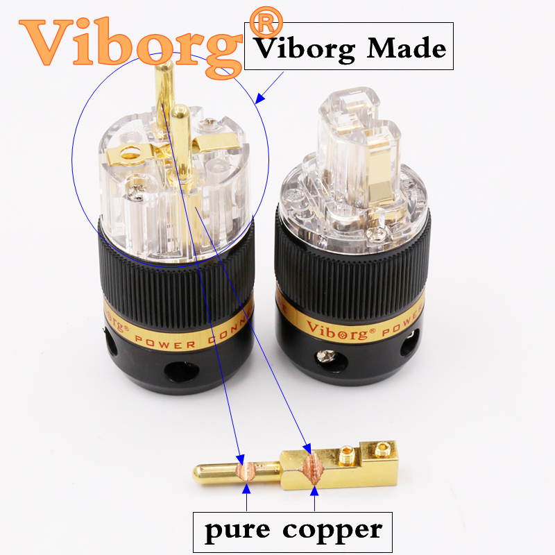 Viborg X 1pair Hifi audio pure copper 24K gold plated Transparent EU schuko power plug connector extension adapter free shipping one pair viborg krell schuko version 24k gold plated audio power plug for audio power wire