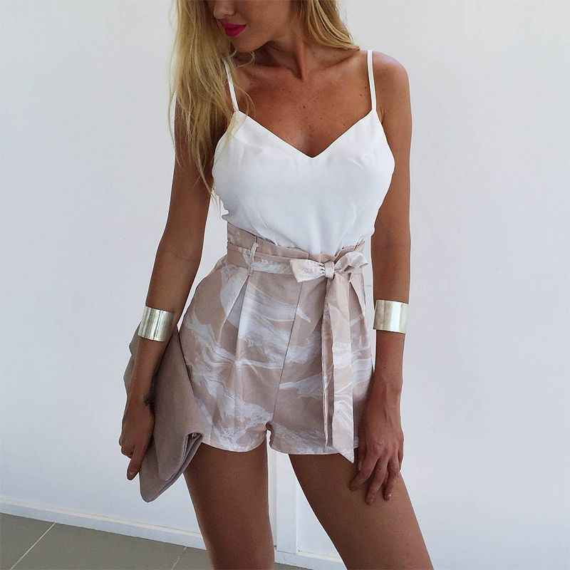 Cotton V-neck Sleeveless Elastic Waist Ankle-length None Limited Free Shipping 2019 New Summer Tie With Shorts Two-piece Women