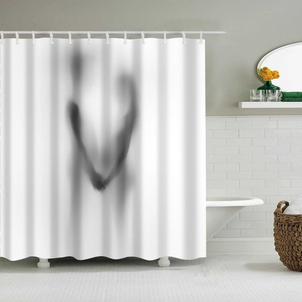 rideau de douche impermeable ombre pour couple decoration de meubles de marque rideau de bain durable avec crochet en plastique rideau de salle de