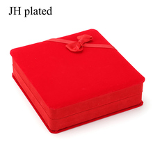 JH plated Flannelette with Bowknot 17.5*16.5*5cm Ring Necklace Earrings bracelet Jewelry sets Gift Box Display Jewelry Case