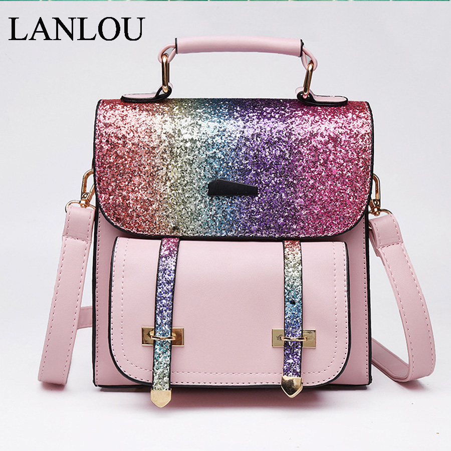 LANLOU New Ladies Backpack Colorful Sequins Bags High Quality PU Leather Large Capacity Trend Student Bags