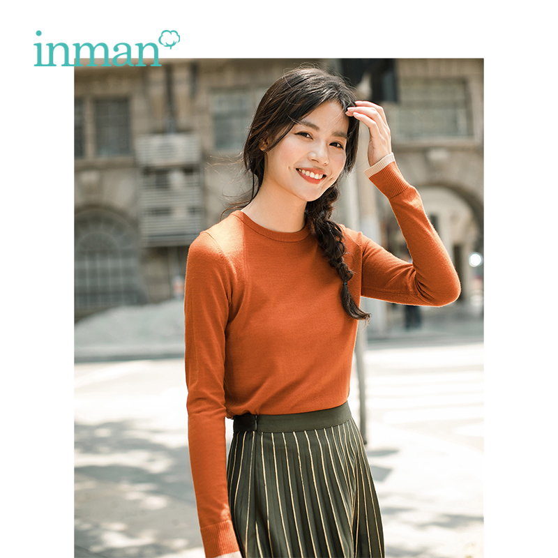INMAN Spring Autumn Wool Warm Multi-color Women Round Color Pullover Sweater