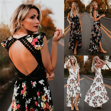 S-2XL v neck sleeveless long dress hollow out backless summer holiday night evening party floral print maxi