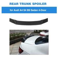 뒷 트렁크 스포일러 for Audi A4 B9 Sline S4 세단 2017 - 2019 탄소 섬유 뒷 트렁크 부츠 립 윙