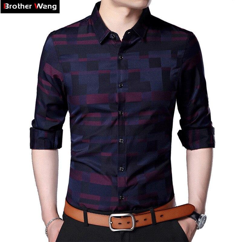 Frère Wang Marque 2018 Printemps Nouveau Hommes casual Slim Chemise Mode D'affaires Coton À Carreaux à manches longues Chemise vêtements 3XL 4XL