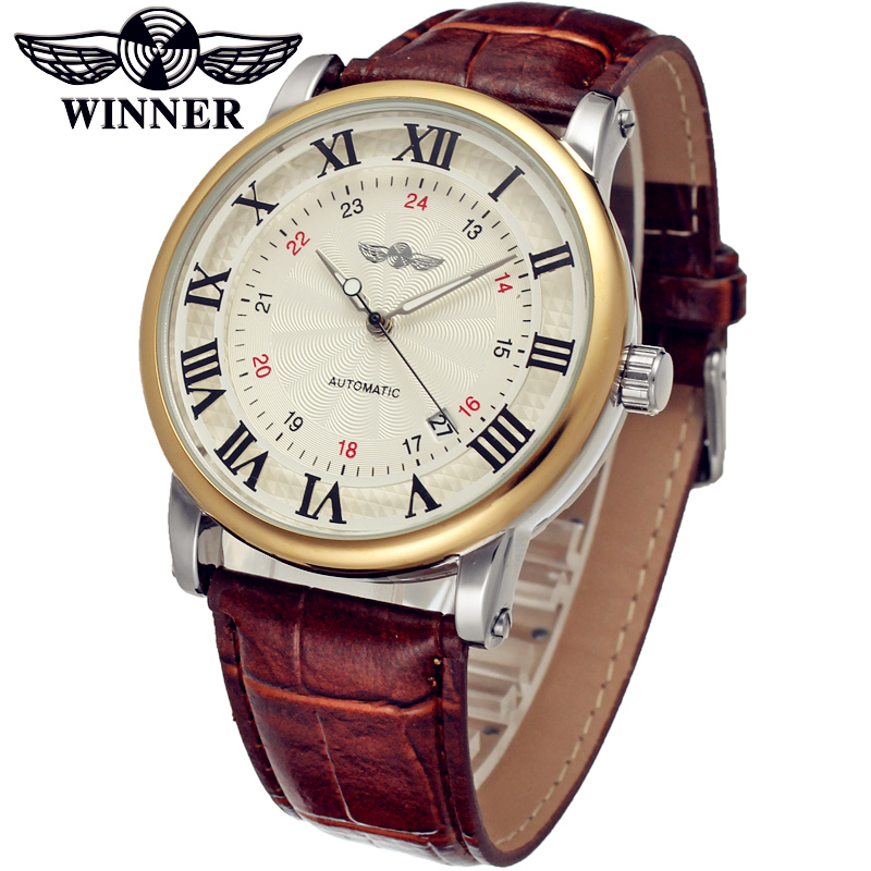 Fashion WINNER Men Luxury Brand Roman Number Leather Strap Watch Automatic Mechanical Wristwatches Gift Box Relogio Releges 2016 winner fashion men mechanical watches leather strap gold case 2016 casual brand analog automatic wristwatches relogio masculino