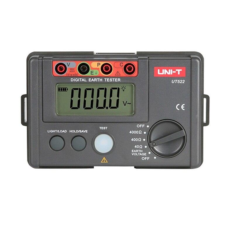 LCD haute précision numérique testeur de résistance à la terre affichage numérique 0-400 V 0-4000 ohm résistance à la terre au sol UNI-T UT522