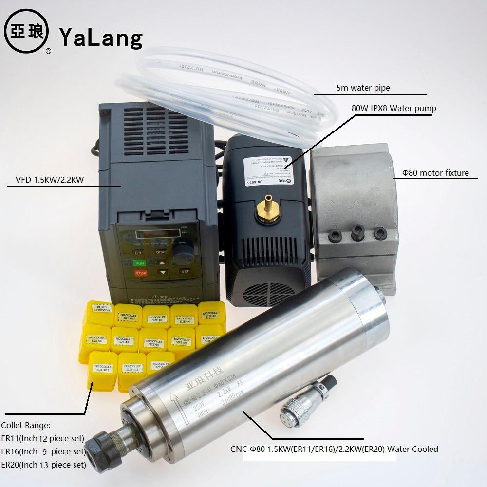1.5kw 2.2kw water cooled spindle motor kit ER11 ER16 ER20 set ?80 4 pcs bearings & 220v 380v 1.5kw/2.2kw AC Driver& 80mm bracket