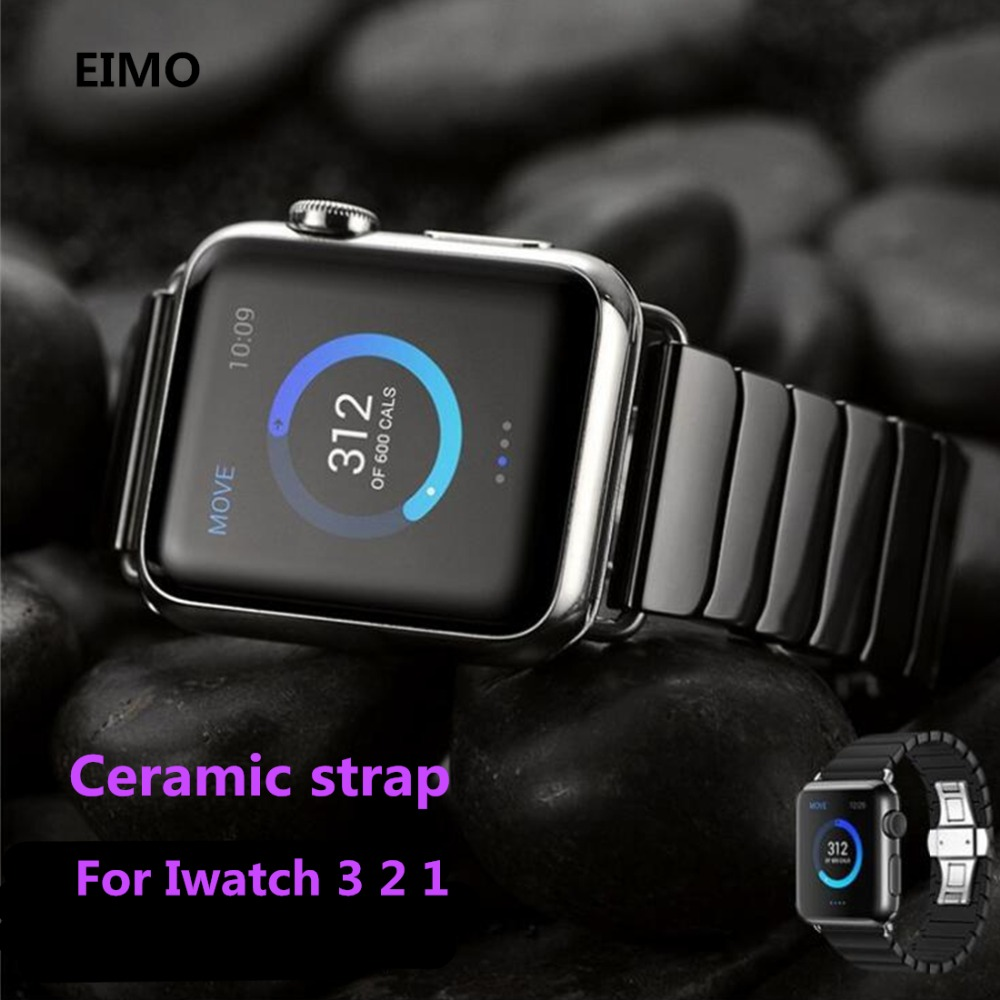 Ceramics strap For Apple Watch band 42mm 38mm Iwatch series 3 2 1 bracelet watchband Butterfly Buckle Black White Glossy Smart tiebao tiebao b1285 recreational cycling shoes black green size 42