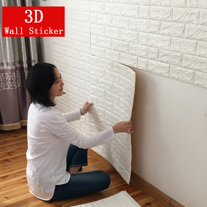 DIY 3D Brick Wall Stickers Living Room Decor Foam Waterproof Wall Covering Self Adhesive Wallpaper For TV Background Kids Room