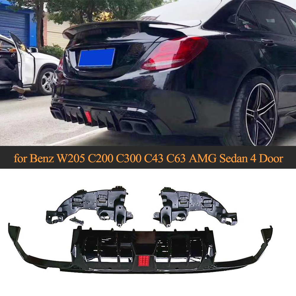 For W205 Rear Bumper Diffuser With Exhaust Sedan For Mercedes Benz C-Class C200 C250 C300 C350 C400 C43 AMG C63 AMG S 14-19
