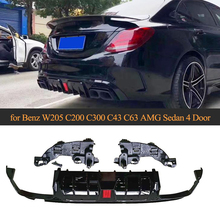 Для заднего бампера W205 диффузор с выхлопом седан для Mercedes Benz c-класс C200 C250 C300 C350 C400 C43 AMG C63 AMG S 14-19