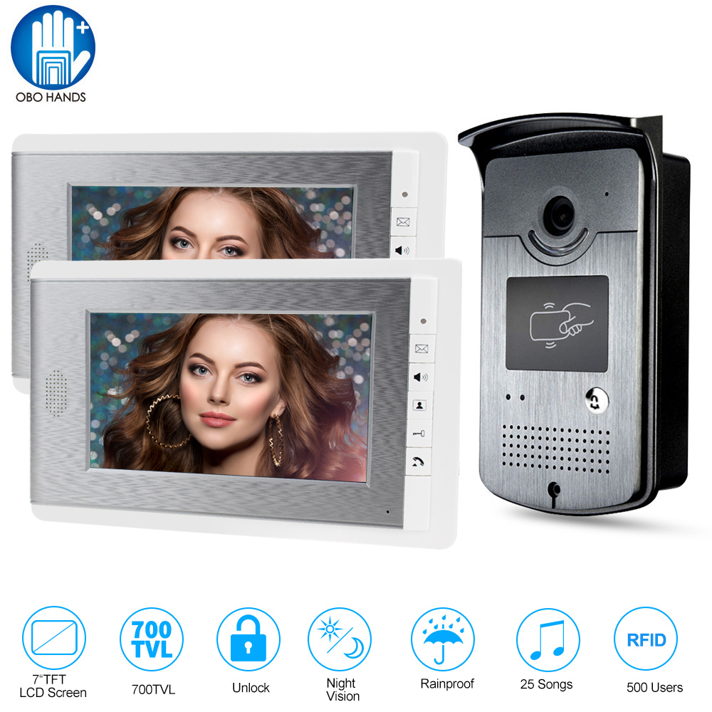 Home Intercom Video Door Phone RFID Camera Access Control System with 2 Monitors 7'' TFT Color Screens Support EM Unlocking free shipping new 7 tft color video door phone intercom recording system 2 screens outdoor rfid door camera remote 8g sd
