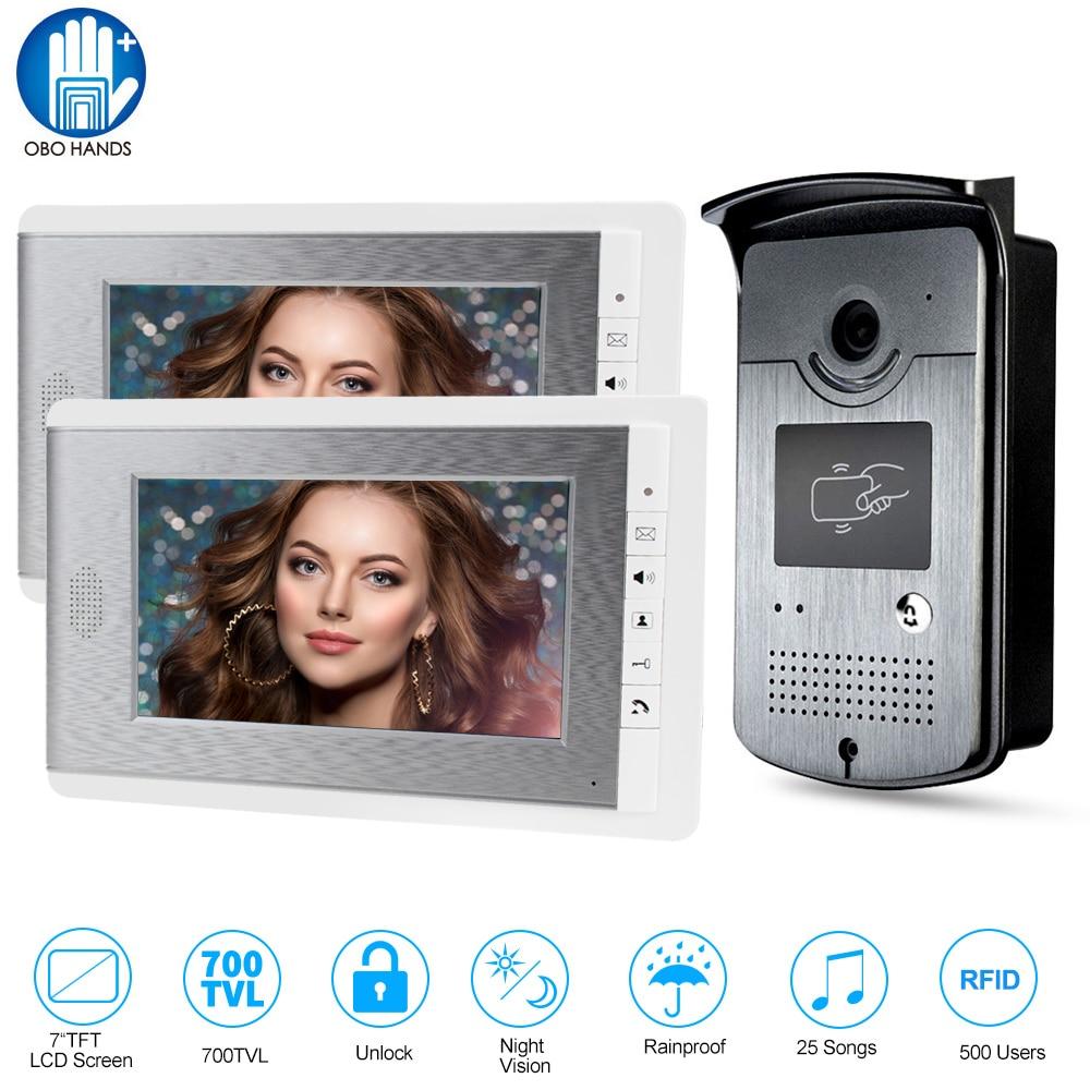 Home Intercom Video Door Phone RFID Camera Access Control System with 2 Monitors 7'' TFT Color Screens Support EM Unlocking