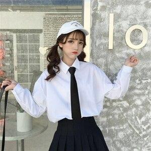 XS-5XL Nieuwe Lente Koreaanse College Wind Casual Lange Mouw Wit Overhemd Vrouwelijke Losse Ol Zakelijke Kleding Turn-Down Kraag shirts Top