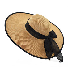 XCZJ Summer Beach Hat Women Panama Straw Caps Wide Brim Visors Casual Hats Lady Brand Hand Made Sun Flat Gorras H093