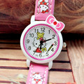 Hot Sale 10pcs/lot Lovely Helo KT Leather Children Cartoon Watches For Girls Kity Kids Fashion New Quartz Watches Free Shipping
