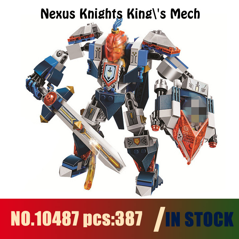 Models building toy 10487 387pcs Nexus Knights Kings Mech Building Blocks Compatible with lego 70327 toys & hobbies