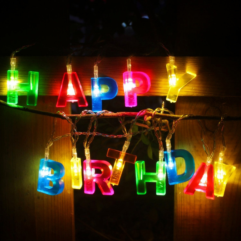 Fargerik 'Happy Birthday' 'Merry Christmas' Brevformet 1,5M LED String Light Hjem Bursdagsselskap Juledekorasjonslys