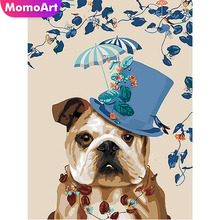 MomoArt DIY Diamond Embroidery Dog Cartoon Painting Full Square Rhinestone Mosaic Cross Stitch