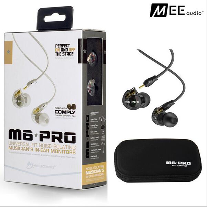 MEE Audio M6 PRO Universal-Fit Noise-Isolating Bass In-Ear Hifi Music DJ Studio Monitors Earphones Headset W/ Detachable Cables in stock 24hrs ship black white wired mee audio m6 pro noise isolating earphones in ear monitors headphones headset with box