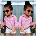 Girls Summer Jacket Lapel Shirt + Shorts + Waist / 3 Sets Children Designer Clothes Kids Designer Kids Children Sets 30#