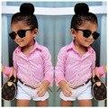 Meninas Jaqueta de Verão Lapela Camisa + Shorts + Cintura/3 Conjuntos Crianças Roupas de Grife Crianças Dos Miúdos Designer Crianças Sets 30 #