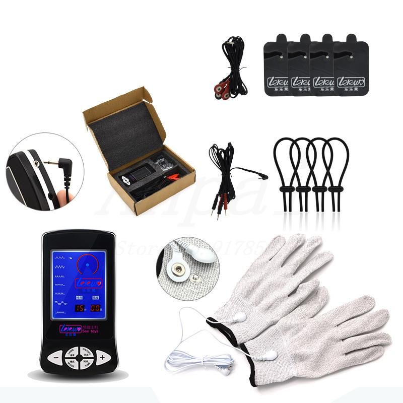 New Electro Shock Glove Massage Penis Rings Stimulate Medical Themed Toys Kit Electro Shock Massage Pad Sex Toys For Men Couples wearable penis sleeve extender reusable condoms sex shop cockring penis ring cock ring adult sex toys for men for couple