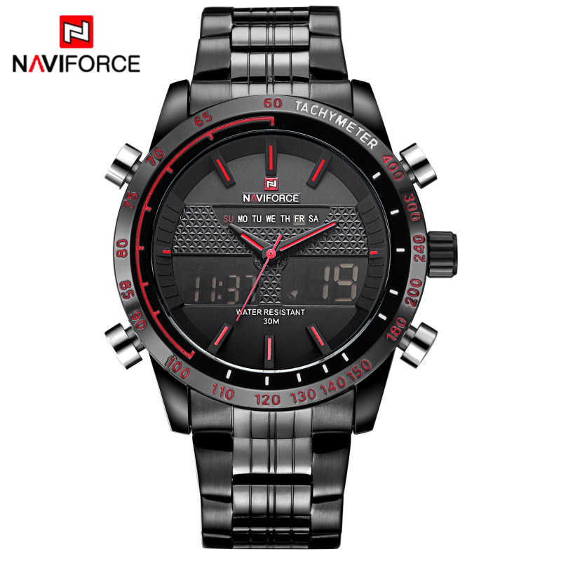 Luxury Brand Naviforce Men Sports Watches Men's Quartz LED Clock Male Full Steel Army Military Wrist Watch relogio masculino brand amuda fashion digital watch men led full steel gold mens sports quartz watch military army male watches relogio masculino
