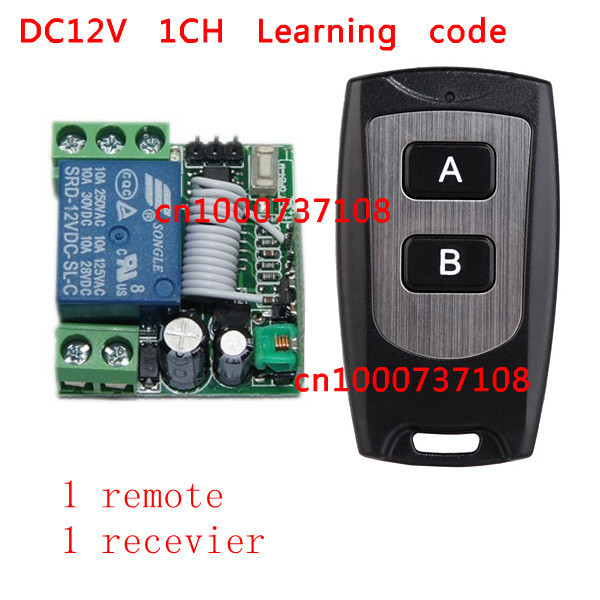Toggle Momentary Free Shipping DC 12V 10A 1 CH Learning Code RF Wireless Remote Control Switch Systems 1 Receiver 1 controller
