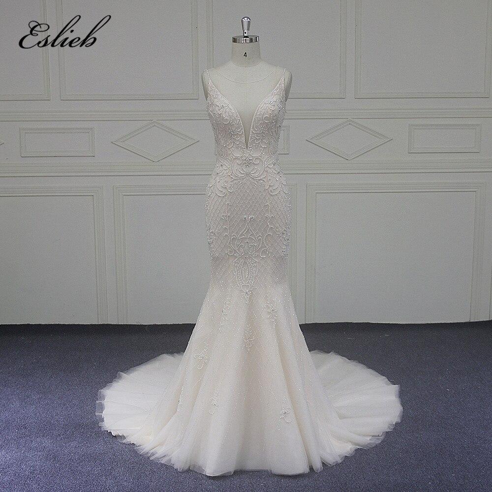 Eslieb свадебное платье 2018 v-образным вырезом Свадебные платья бисером суд Поезд свадебное платье es индивидуальный заказ Robe De Mariage Vestido de Noiva