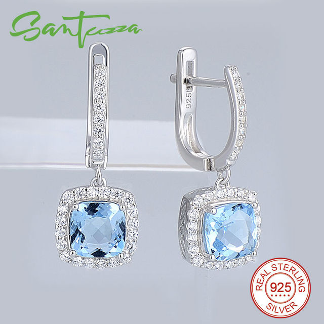 dbdff5cb7 Silver Drop Earrings for Women Cushion Sky Blue Stone White Cubic Zirconia  Earrings Pure 925 Sterling Silver Fashion Jewelry