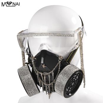 Steampunk okulary maski gazowe kryształ Tassel szkło Cosplay rekwizyty Gothic mężczyźni kobiety maska Retro nit Cosplay maska gadżety na halloween tanie i dobre opinie Unisex Dla dorosłych Kostiumy Z tworzywa sztucznego