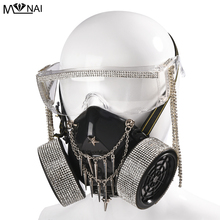 Steampunk okulary maski gazowe kryształ Tassel szkło Cosplay rekwizyty Gothic mężczyźni kobiety maska Retro nit Cosplay maska gadżety na halloween tanie tanio Kostiumy Unisex Dla dorosłych Z tworzywa sztucznego