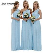 Bridesmaid Dresses Plus-Size Party-Gowns A-Line Elegantes Wedding Chiffon One-Shoulder