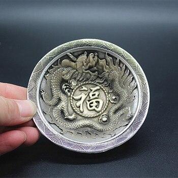 Китайская народная тибетская серебряная посуда с изображением драконьей оперы