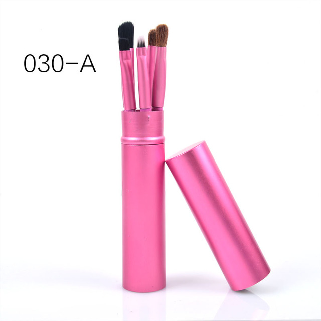 New 5 Pcs Eye Makeup Brushes Set Eye shadow Eye Liner Shadow Brushes Kit Pony Hair Black Makeup Tool With Cup Tube Holder 1