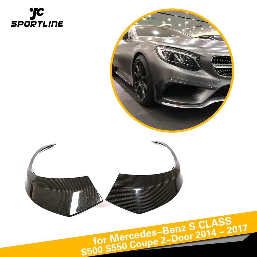 En Fiber De carbone Pare-chocs Avant Ailettes Pour Mercedes-Benz S500 S550 Coupé 2-Porte 2014-2017 2 pcs/ensemble pare-chocs Accessoires Évents Winglets