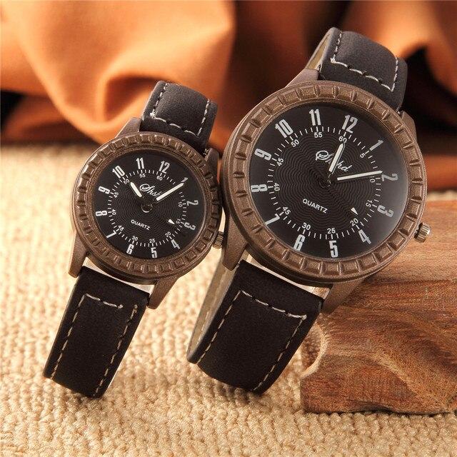 2 Pcs Hot Sales New Vintage leisure imitation wood pair watches men women lovers couple dress quartz wristwatch 3
