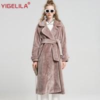 YIGELILA 9512 последние зимние модные розовые отложным воротником халат Стиль широкий талией ремень Длинные Искусственный шерстяной мех Тренч