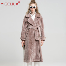 YIGELILA 9512 Latest Winter Fashion Pink Turn Down Collar Robe Style Wide Waisted Belt Long Artificial Wool Fur Trench Coat
