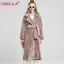 YIGELILA 9512 Mais Recente Moda Inverno Rosa Turn Down Collar Robe Estilo Ampla Cintura Cinto Longo de Lã Trincheira Casaco de Pele Artificial