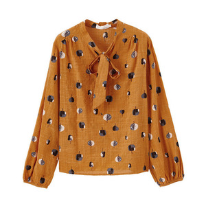 Image 5 - INMAN Spring Autumn Viscose Cotton Soft Print Pretty Lacing Literary Elegant Verstand Women Blouse