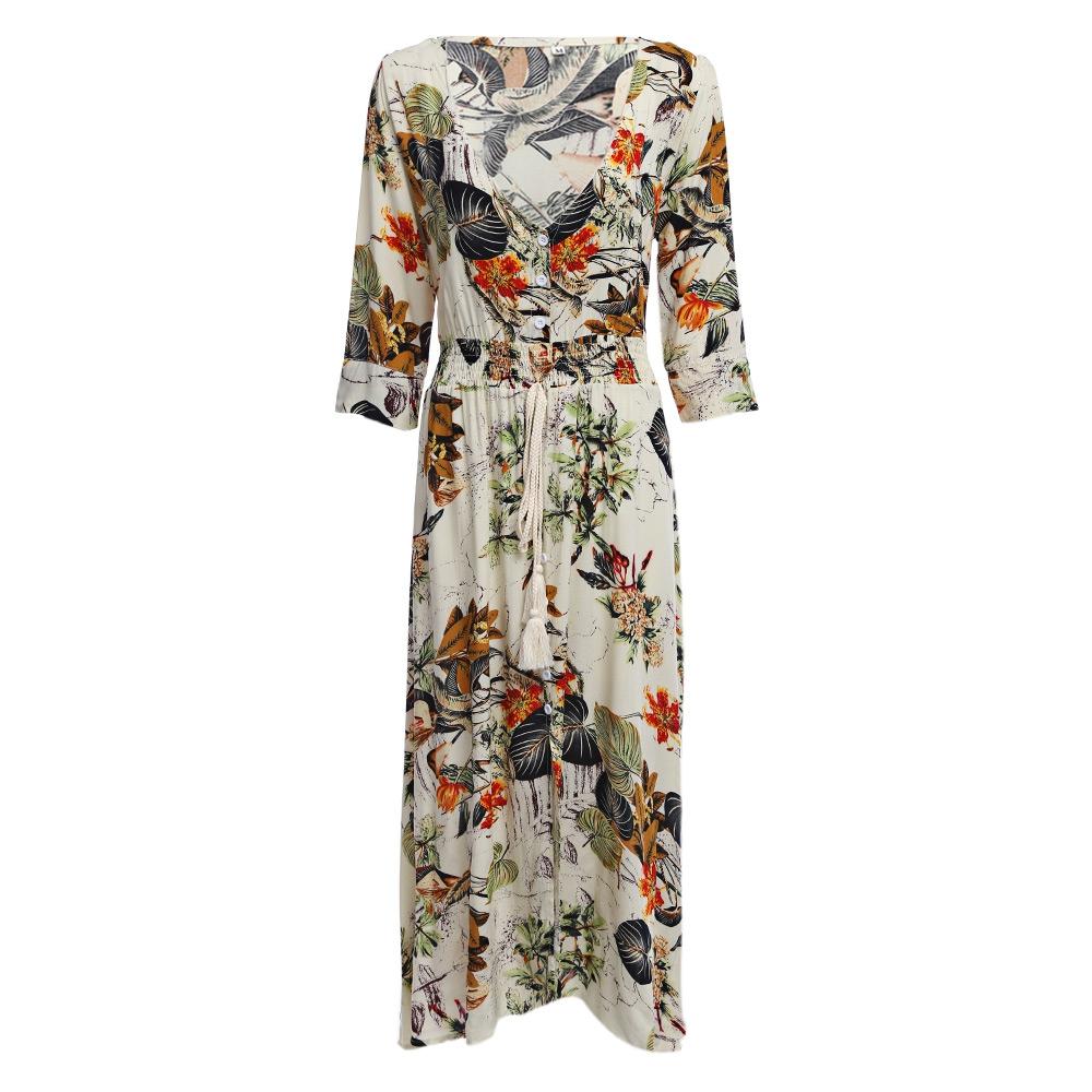VESTLINDA Vintage Dress Allover Floral Print Elestic Waist Split Long Dress V Neck 34 Sleeve Robe Femme Women 2017 Summer Dress 5