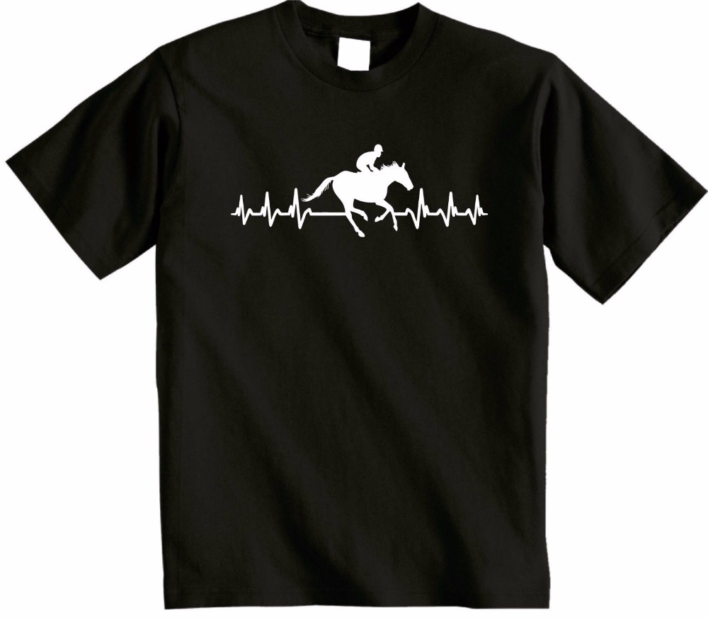 2018 New Men T Shirt Loose Clothes ItS In My Heartbeat Horse Riding Youth Round Collar Customized T Shirts