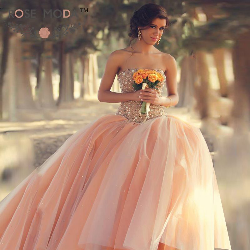 Soft Sweetheart Neckline Elegant Fully Pearl Beaded Autumn Wedding Ball Gown Blush Peach Wedding Dress Vestidos de Noiva